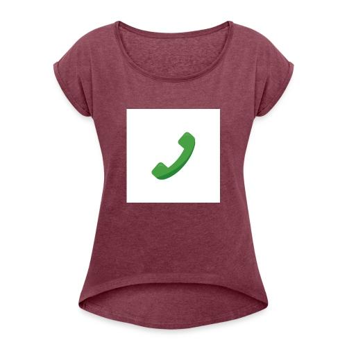 Telefon - Frauen T-Shirt mit gerollten Ärmeln