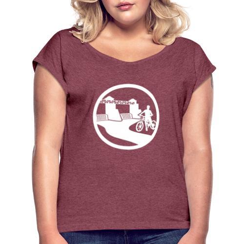 Wickede Heimatlogo weiss - Frauen T-Shirt mit gerollten Ärmeln