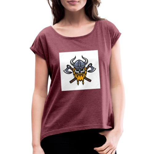 Viking Warrior Skull and Axes badge logo - Women's T-Shirt with rolled up sleeves