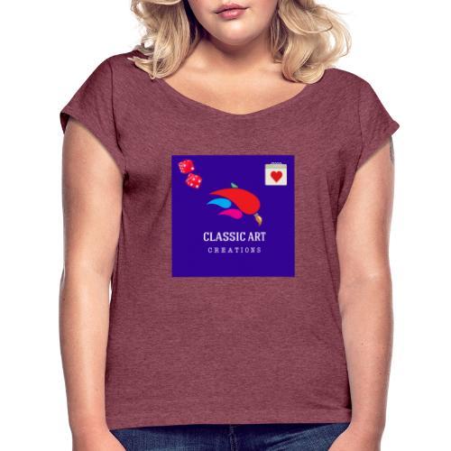 6B922284 9DFD 4417 87EA A64B8AD9B6BE - Camiseta con manga enrollada mujer