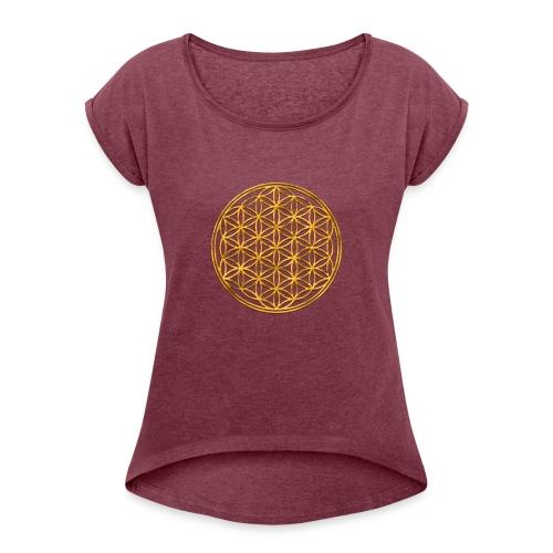 Flower of life GOLD 2 - Vrouwen T-shirt met opgerolde mouwen