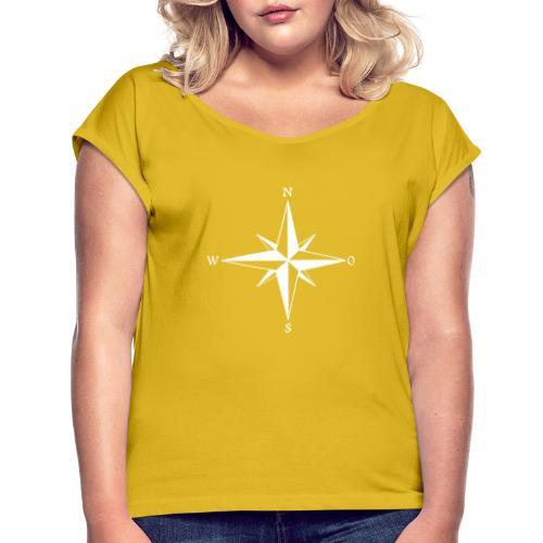Kompas white - Dame T-shirt med rulleærmer