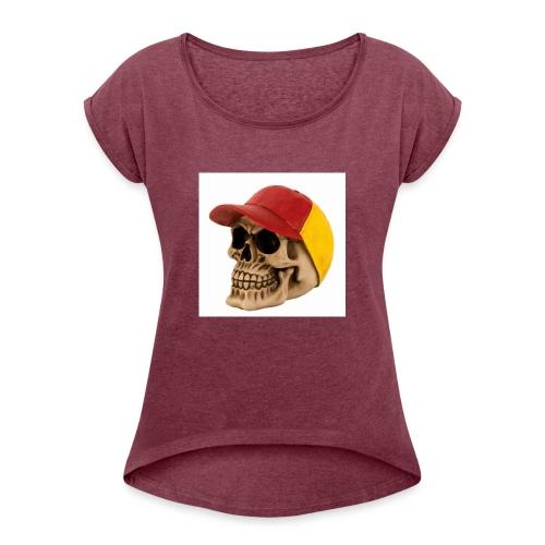 totenkopf - Frauen T-Shirt mit gerollten Ärmeln