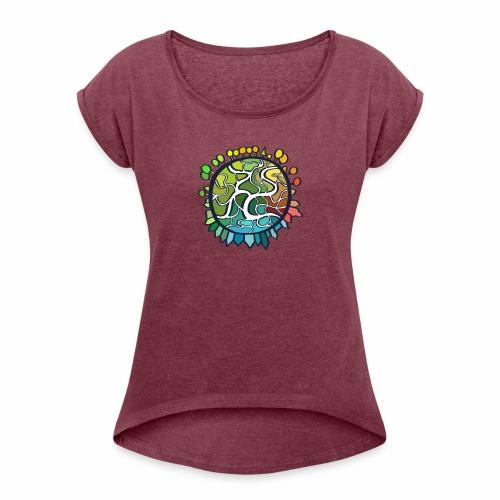 World - Vrouwen T-shirt met opgerolde mouwen