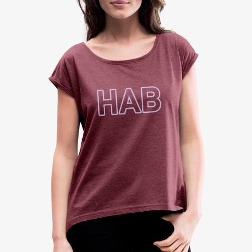 HAB 140% Vektor_Outline_W - Frauen T-Shirt mit gerollten Ärmeln