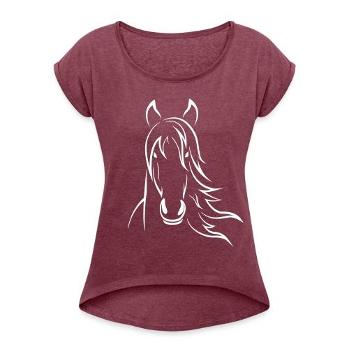 Vorschau: Horse - Frauen T-Shirt mit gerollten Ärmeln