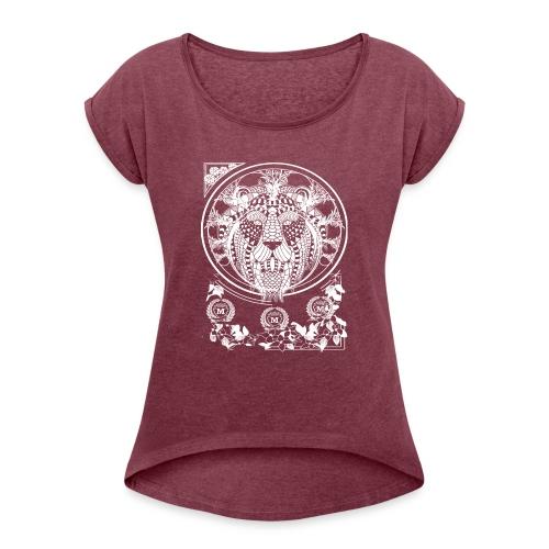 Lion Wit 1 1 - Vrouwen T-shirt met opgerolde mouwen