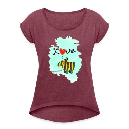 Janosch Verliebte Tigerente Herz Love - Frauen T-Shirt mit gerollten Ärmeln