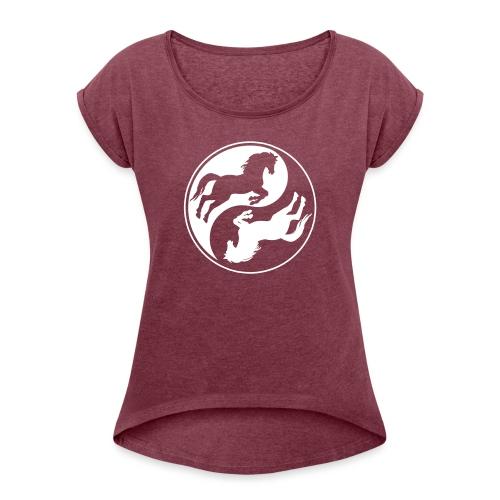 Vorschau: Horse Ying Yang - Frauen T-Shirt mit gerollten Ärmeln