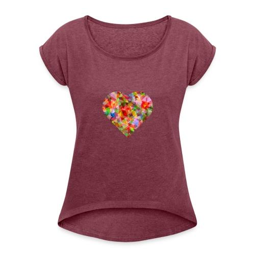 schoenes Herz in bunten Fraben - Frauen T-Shirt mit gerollten Ärmeln