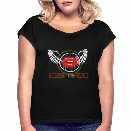 labios jpg - Camiseta con manga enrollada mujer