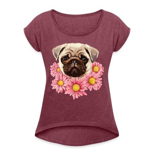 Pug - Dame T-shirt med rulleærmer