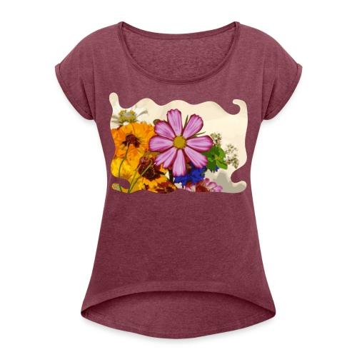 Pink flower - Vrouwen T-shirt met opgerolde mouwen