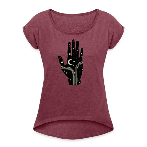 its all in your hand moon - Vrouwen T-shirt met opgerolde mouwen
