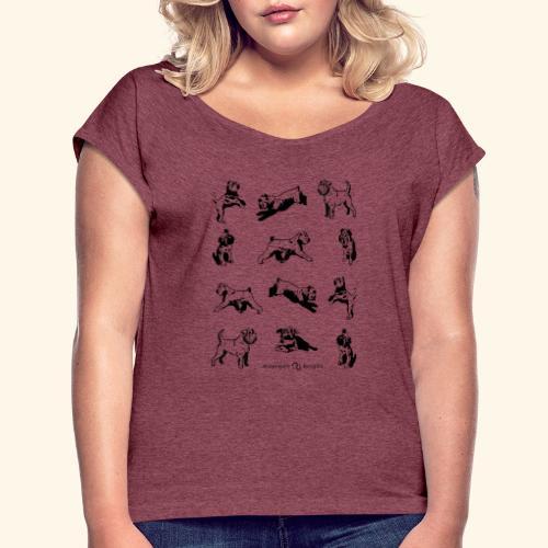 Brussels Griffon pattern - T-shirt à manches retroussées Femme