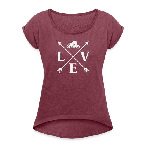 Speedskating Love Weiss - Frauen T-Shirt mit gerollten Ärmeln