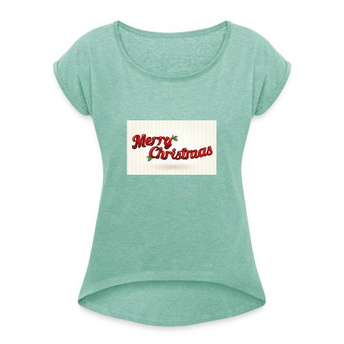 merry christmas design - Vrouwen T-shirt met opgerolde mouwen