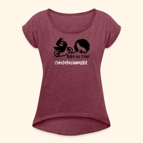BoT Sozia Weiss - Frauen T-Shirt mit gerollten Ärmeln