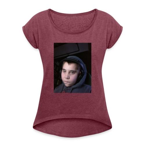 djyoutuber thisert - Vrouwen T-shirt met opgerolde mouwen