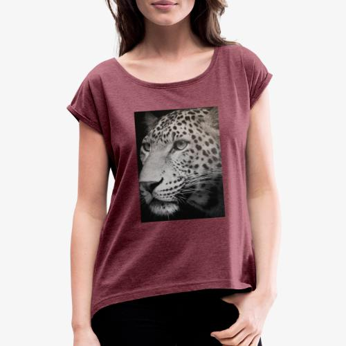 Schwarzer Tiger - Frauen T-Shirt mit gerollten Ärmeln