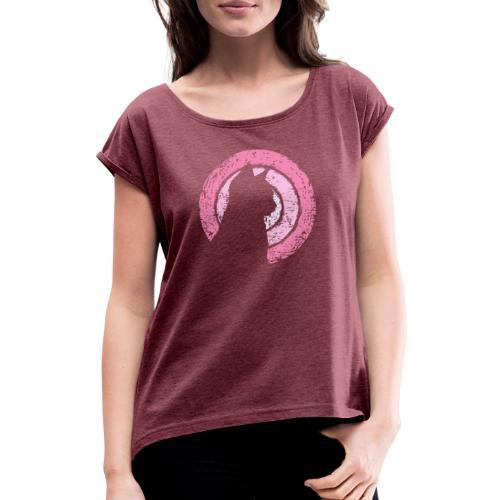 Kattsilhuett rosa - T-shirt med upprullade ärmar dam