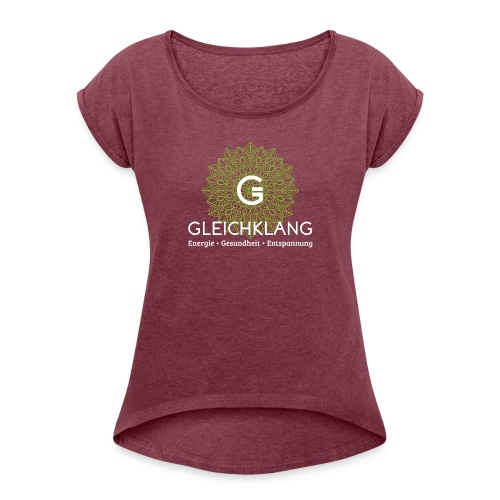 Sujet Gleichklang bg-purple - Frauen T-Shirt mit gerollten Ärmeln