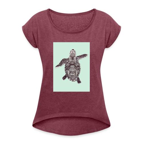 tortue en transparence - T-shirt à manches retroussées Femme