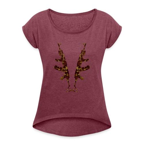 G.K - Frauen T-Shirt mit gerollten Ärmeln