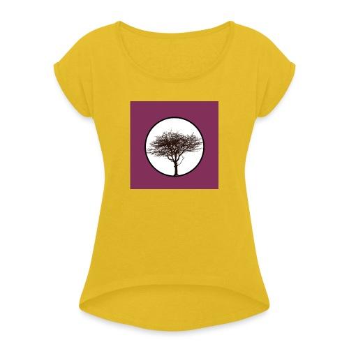 Baum in Kreis - Frauen T-Shirt mit gerollten Ärmeln