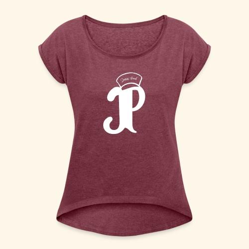 Jimini Prod' Logo Blanc - T-shirt à manches retroussées Femme