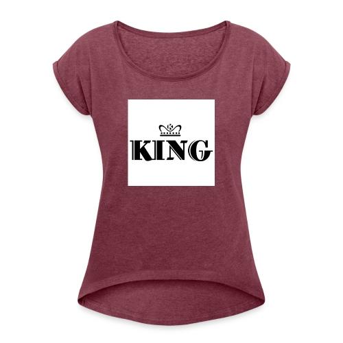 6A0E52E6 2DBE 47C9 8ABC 37BE6348D983 - Frauen T-Shirt mit gerollten Ärmeln