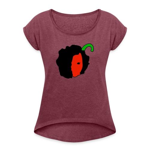 Paprikaboy face - Vrouwen T-shirt met opgerolde mouwen