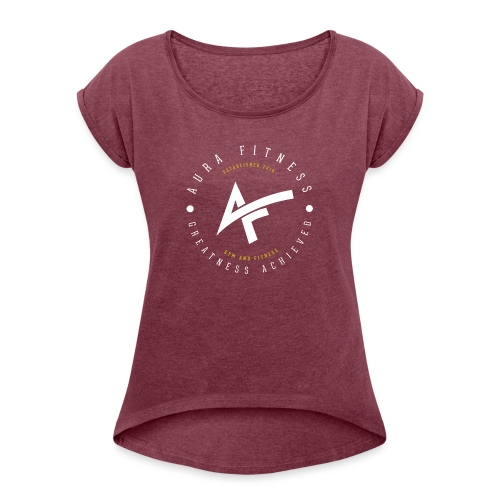 Aura Fitness BLACK/BLACK - Women's T-Shirt with rolled up sleeves