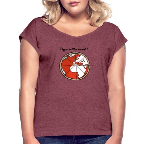 Mondo a forma di pizza - Maglietta da donna con risvolti
