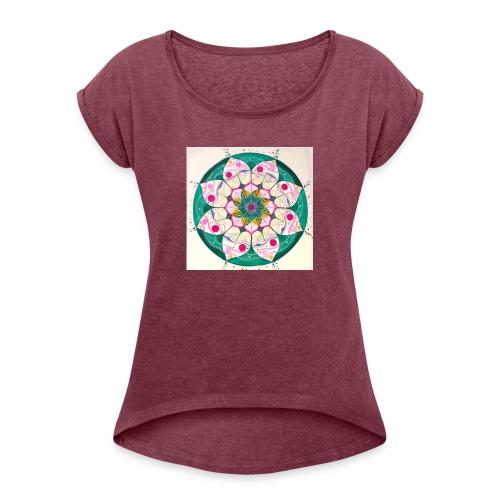 mandala rosa - Camiseta con manga enrollada mujer