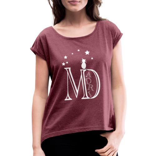 MadriG - Camiseta con manga enrollada mujer