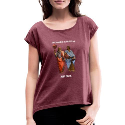 Platon und Aristoteles - Frauen T-Shirt mit gerollten Ärmeln