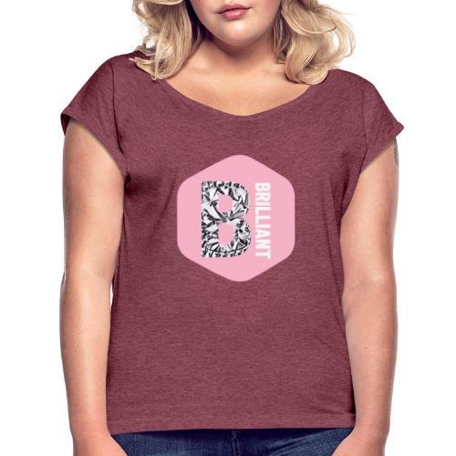 B brilliant pink - Vrouwen T-shirt met opgerolde mouwen