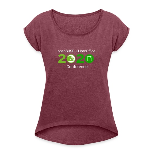openSUSE + LibreOffice Conference 2020 - Women's T-Shirt with rolled up sleeves