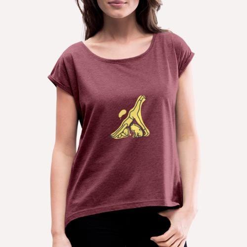 Yoga Pose Downward Facing Dog T-shirt Print - Women's T-Shirt with rolled up sleeves