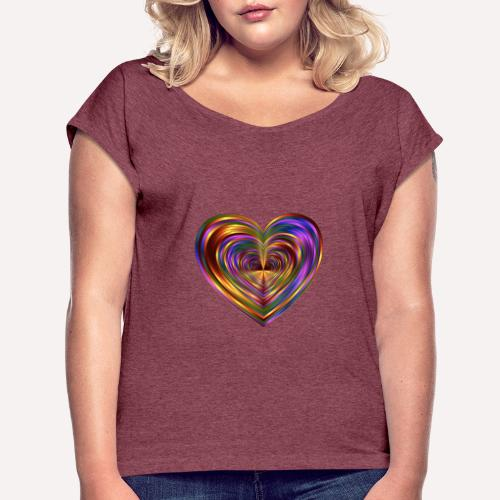 Colorful Love Heart Print T-shirts And Apparel - Women's T-Shirt with rolled up sleeves