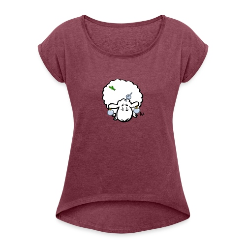 Christmas Tree Sheep - Vrouwen T-shirt met opgerolde mouwen