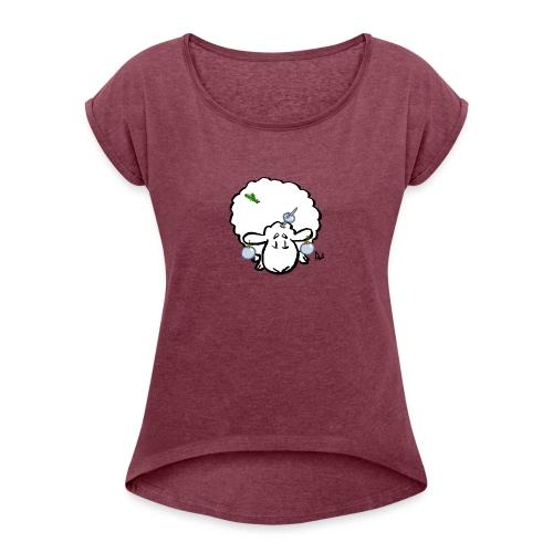 Weihnachtsbaumschaf - Frauen T-Shirt mit gerollten Ärmeln