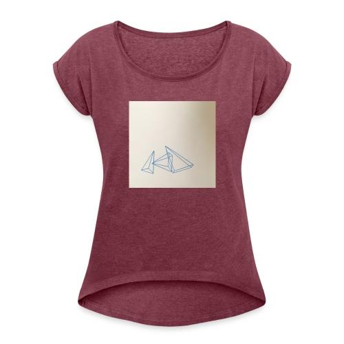 triangles bleu - T-shirt à manches retroussées Femme