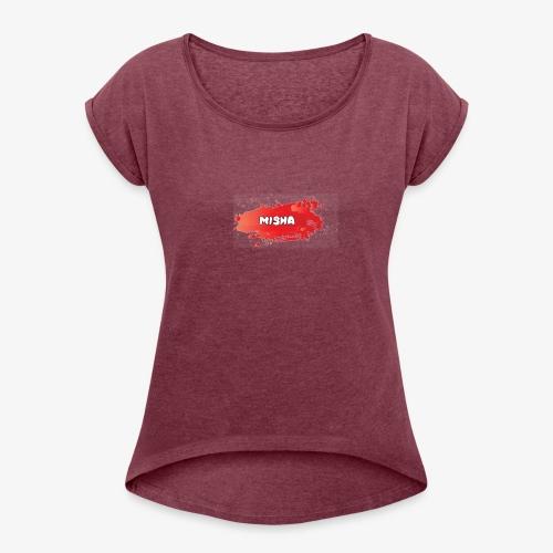 Misha - Vrouwen T-shirt met opgerolde mouwen
