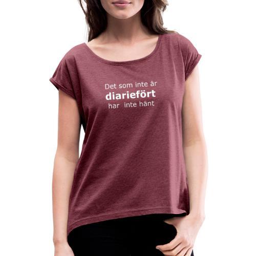 diariefört vit - T-shirt med upprullade ärmar dam