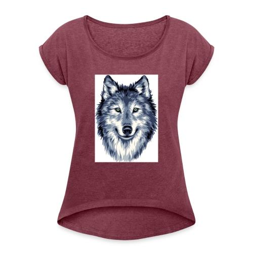 7C222599 19AF 49C2 895F E70AB0B23BE7 - Frauen T-Shirt mit gerollten Ärmeln