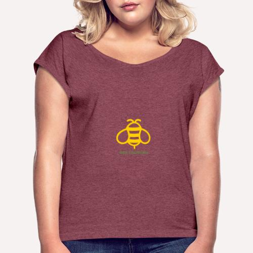 Bee Yourself Print Design. Stand Out Of The Crowd. - Women's T-Shirt with rolled up sleeves