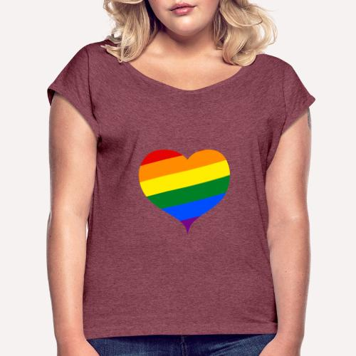 LBGT+ Colorfull Heart - Women's T-Shirt with rolled up sleeves