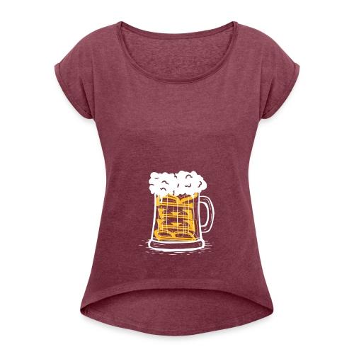 Bier Krug - Frauen T-Shirt mit gerollten Ärmeln